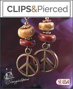Bohemian Ceramic & Copper Earrings | Your choice:  Pierced or Clips