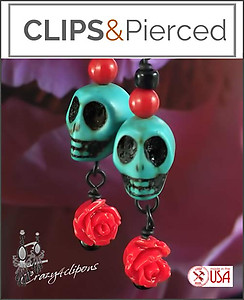 Dancing Festive Skull Earrings | Your choice:  Pierced or Clips