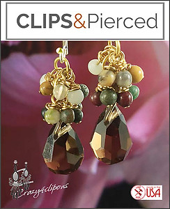 Autumn Delight Clustered Earrings | Your choice:  Pierced or Clips
