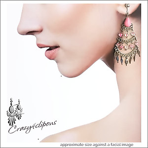 Ethnic Dangle Chandelier Earrings | Your choice:  Pierced or Clip on