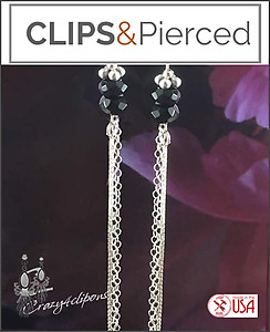 Onyx with Long Sexy Silver Chain Earrings | Your choice:  Pierced or Clip on