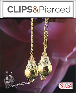 Gold Dangling Christmas Ornament Earrings | Your choice:  Pierced or Clips