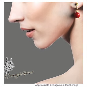 Everyday.  Classic Red Earrings | Your choice:  Pierced or Clips