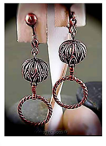 Ethnic  Antique Copper Mini Hoop Earrings | Your choice:  Pierced or Clips