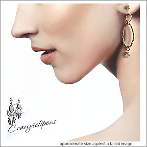 Gold Filled Ovals w/ Gems Earrings | Your choice:  Pierced or Clips