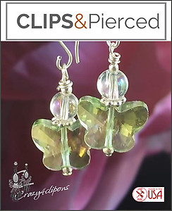 Easter Pastel Butterfly Crystal Earrings | Your choice:  Pierced or Clips