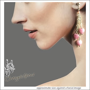 Sweet Dangling Pink Hearts Earrings | Your choice:  Pierced or Clips