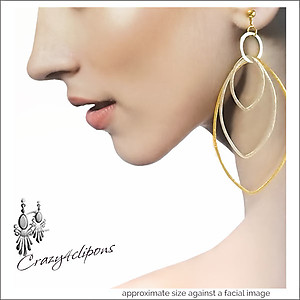 Soo Diva!  Extra Large Duo-Toned Hoop Earrings | Your choice:  Pierced or Clips
