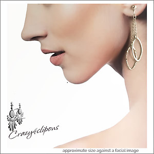Sophisticated  Long Silver Leaf Earrings | Your choice:  Pierced or Clips