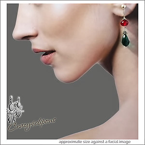 Christmas Fancy Green Red Earrings | Your choice:  Pierced or Clips