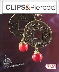 Chinese Lucky Coins Earrings | Your choice:  Pierced or Clips