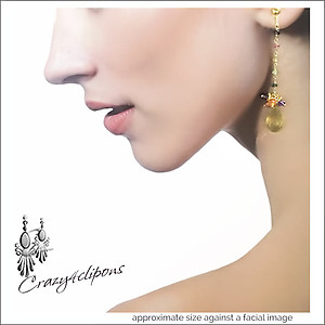 Elegant Yellow Citrine Earrings w/ Gems | Your choice:  Pierced or Clip on