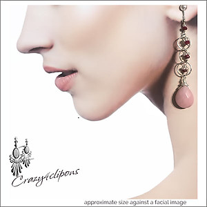 Pink Peruvian Earrings with mini Hoops | Your choice:  Pierced or Clips