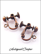 Antiqued Copper Screw Back Clip Findings