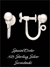 Sterling Silver Clips With Screw Backs