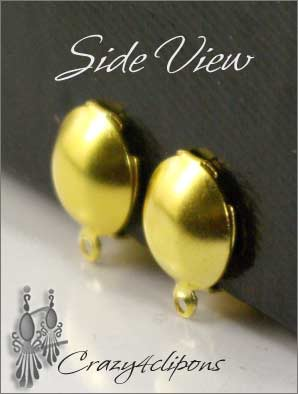 Clip Earrings Findings: Front Dome Paddle Back Clip-on Backs