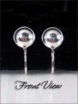 Clip Earrings Findings: Sterling Silver Front Ball