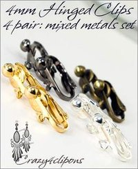 4mm Front Clip Earring Hinged Set: Mixed Metals
