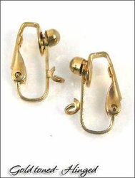 Clip Earrings: 4mm Ball Front Ball Hinged Findings - 3 Pairs