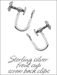 Sterling Silver Front Cup Screw Back Clip Earrings Findings