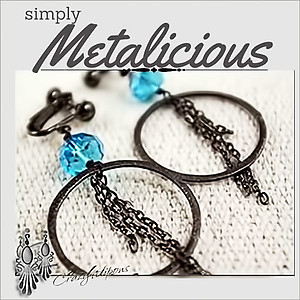 Edgy Crystal & Gunmetal Hoop Earrings | Your choice: Pierced or Clips