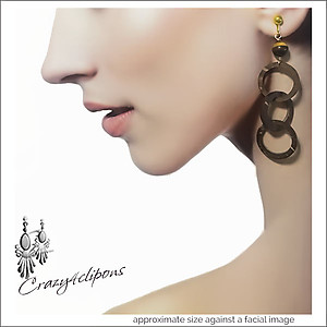 Organic Looking, Earthy Hoop Earrings | Your choice:  Pierced or Clips