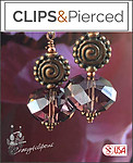 Vintage Looks. Crystal & Copper Earrings | Your choice: Pierced or Clips