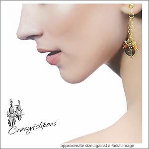 Smoky Quartz Dangling Earrings w/ Gems | Your choice: Pierced or Clips