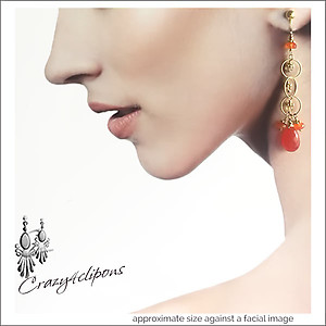 Long Gold Mini Hoops w/ Carnelian Earrings | Your choice: Pierced or Clips