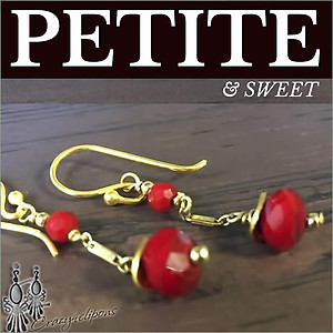 Gold Filled w/ Red Earrings | Your choice:  Pierced or Clips