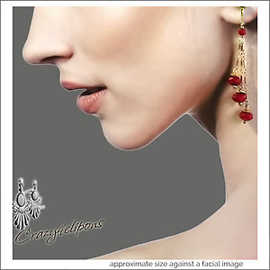 Holiday Ready Dangling Gold Red Earrings | Your choice:  Pierced or Clip on