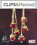 Christmas: Dangling Gold Red Earrings | Your choice: Pierced or Clip on