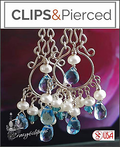 Luscious Blue Topaz Chandelier Earrings | Your choice:  Pierced or Clips