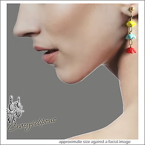 Lucite Colorful Dangling Earrings | Your choice:  Pierced or Clips