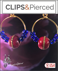 Small Golden Beaded Hoops | Pierced or Clips