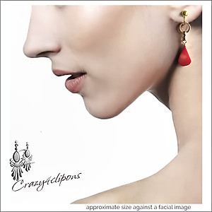 Gong Xi Fa Cai Red Earrings | Choose Pierced or Clips