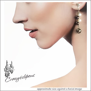 Zigzag Duo toned Pearl Earrings | Your choice: Pierced or Clips