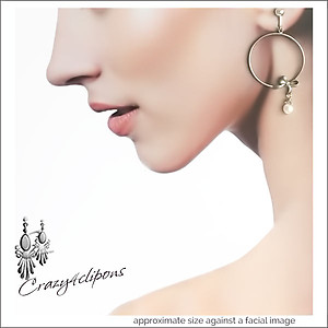 Dangling Pearl Hoop Earrings | Your choice:  Pierced or Clips
