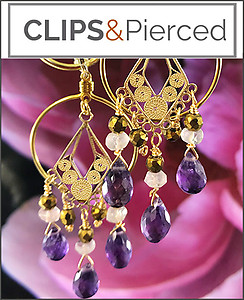 Amethyst Chandelier Earrings | Pierced & Clips