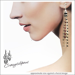 Long Dazzling Gem Tassel Earrings | Your choice:  Pierced or Clips