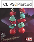 Turquoise Chips & Shell Earrings | Your choice: Pierced or Clips