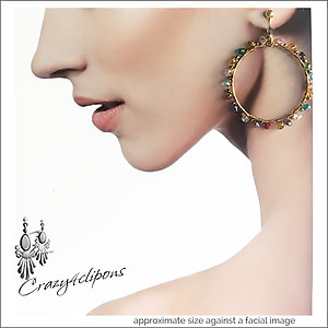 Colorful  Hoop Earrings | Your choice:  Pierced or Clips
