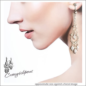Luscious Long Bridal Chandelier Earrings | Your choice: Pierced or Clips