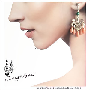 Spanish Pink Coral Filigree Earrings | Your choice: Pierced or Clips