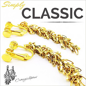 Long Dangling Gold Earrings | Your choice: Pierced or Clips