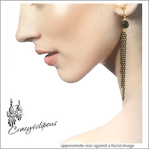 Pierced & Clip Earrings: Black Onyx e/ Long Tassels