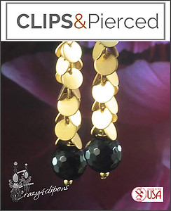 Pierced & Clip Earrings: Gold & Black Onyx