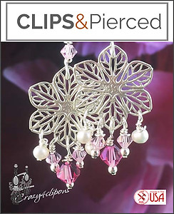 Awareness: Floral Filigree w/ Swarovski Crystals Earrings | Your choice: Pierced or Clips