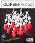Spanish Red Coral Earrings | Your choice: Pierced or Clips