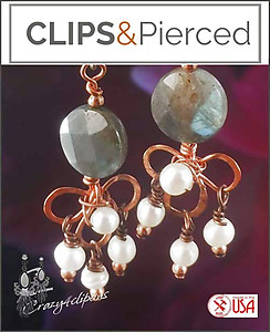 Artisan Labradorite, Copper & Pearl Earrings | Your choice:  Pierced or Clips